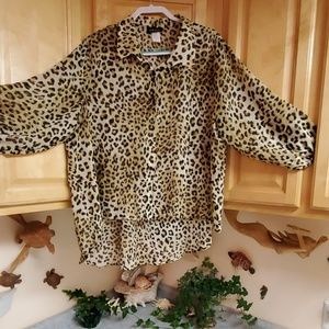 Objex High Low Sheer Leopard Button Down Blouse 3x